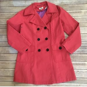 Loft double breasted coral rain jacket